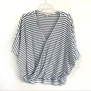 Anthro Eri & Ali striped cross front top